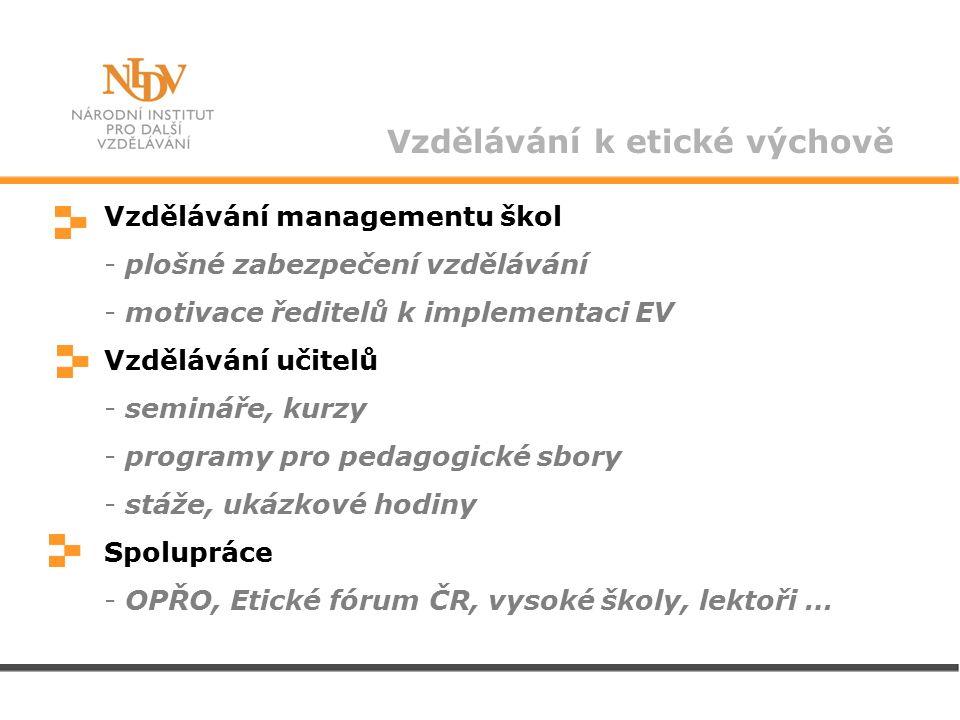 Vzdělávání k etické výchově Vzdělávání managementu škol - plošné zabezpečení vzdělávání - motivace ředitelů k implementaci EV Vzdělávání učitelů - semináře, kurzy - programy pro pedagogické sbory - stáže, ukázkové hodiny Spolupráce - OPŘO, Etické fórum ČR, vysoké školy, lektoři … -