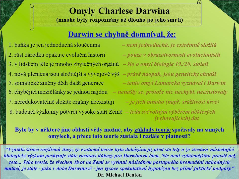 Omyly Charlese Darwina (mnohé byly rozpoznány až dlouho po jeho smrti) Vznikla široce rozšířená iluze, že evoluční teorie byla dokázána již před sto lety a že všechen následující biologický výzkum poskytuje stále rostoucí důkazy pro Darwinovu ideu.