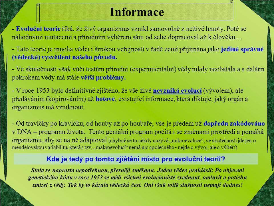 Informace - Evoluční teorie říká, že živý organizmus vznikl samovolně z neživé hmoty.