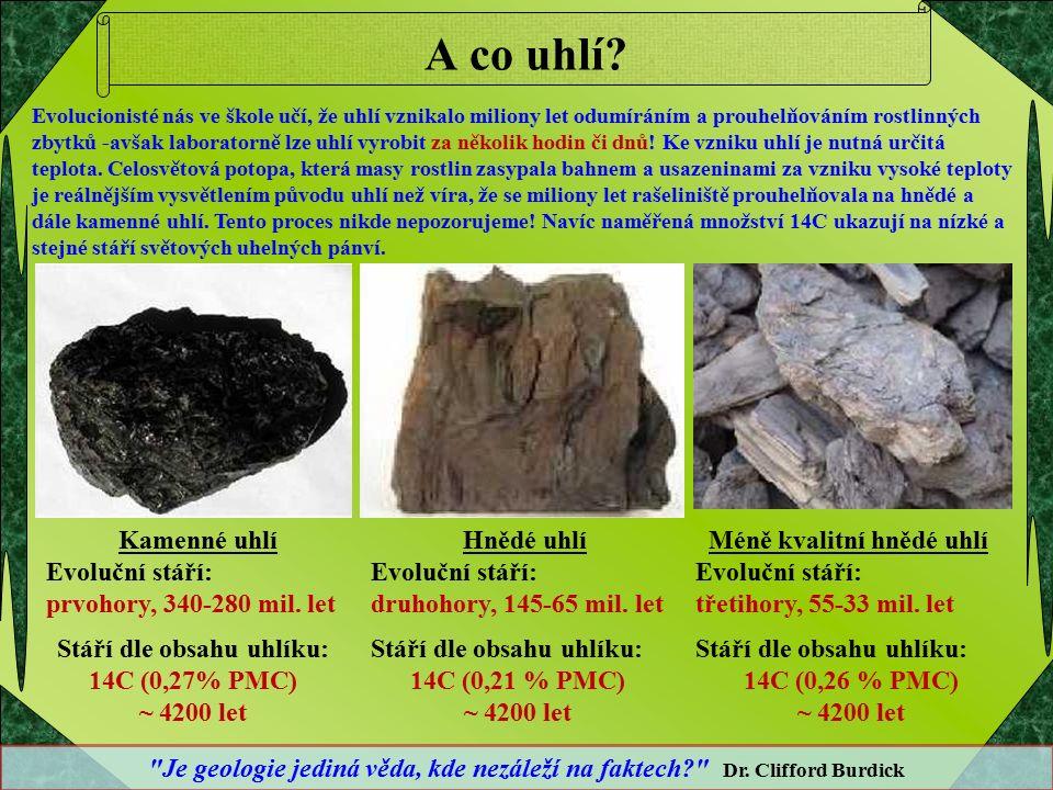A co uhlí? Kamenné uhlí Evoluční stáří: prvohory, 340-280 mil. let Stáří dle obsahu uhlíku: 14C (0,27% PMC) ~ 4200 let Hnědé uhlí Evoluční stáří: druh