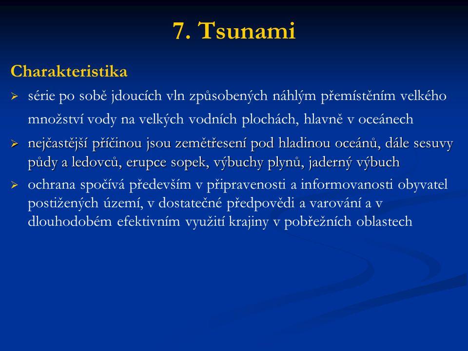 7. Tsunami Charakteristika   série po sobě jdoucích vln způsobených náhlým přemístěním velkého množství vody na velkých vodních plochách, hlavně v o
