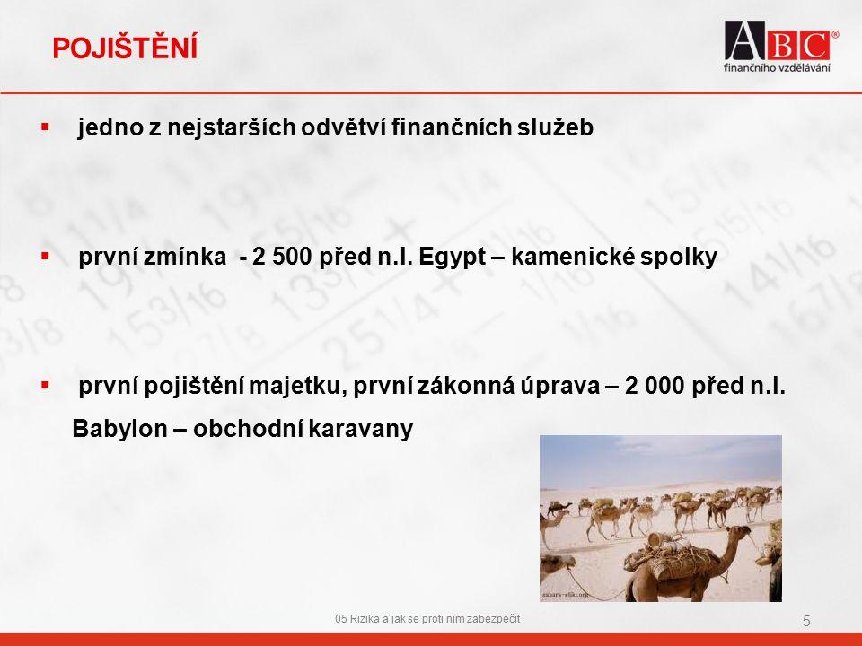 POJIŠTĚNÍ  jedno z nejstarších odvětví finančních služeb  první zmínka - 2 500 před n.l.