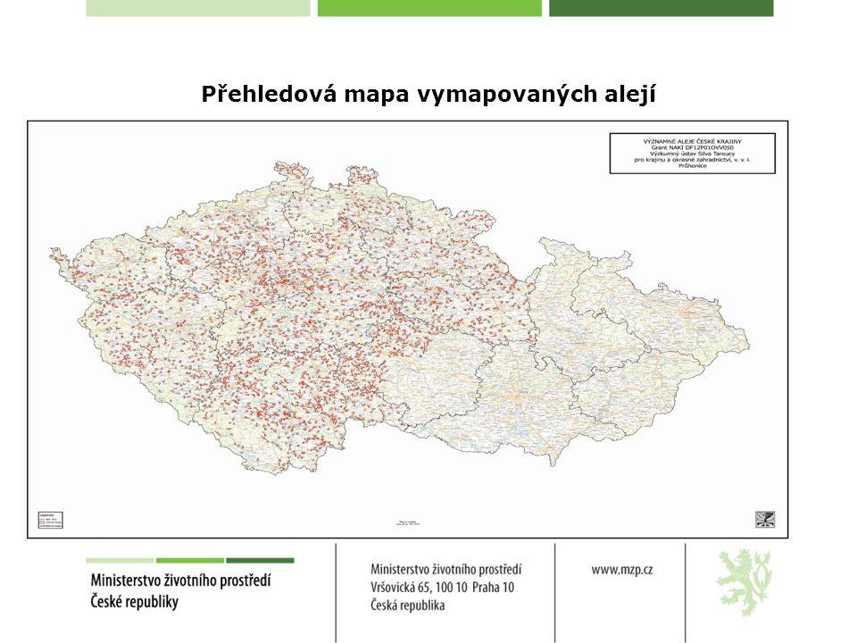 Přehledová mapa vymapovaných alejí