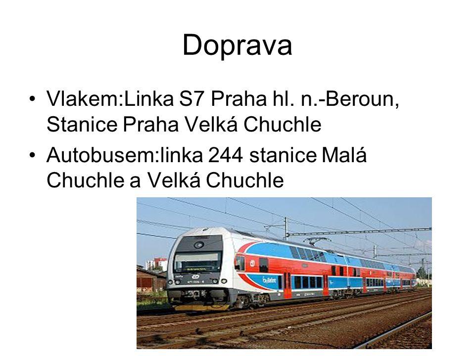 Doprava Vlakem:Linka S7 Praha hl. n.-Beroun, Stanice Praha Velká Chuchle Autobusem:linka 244 stanice Malá Chuchle a Velká Chuchle