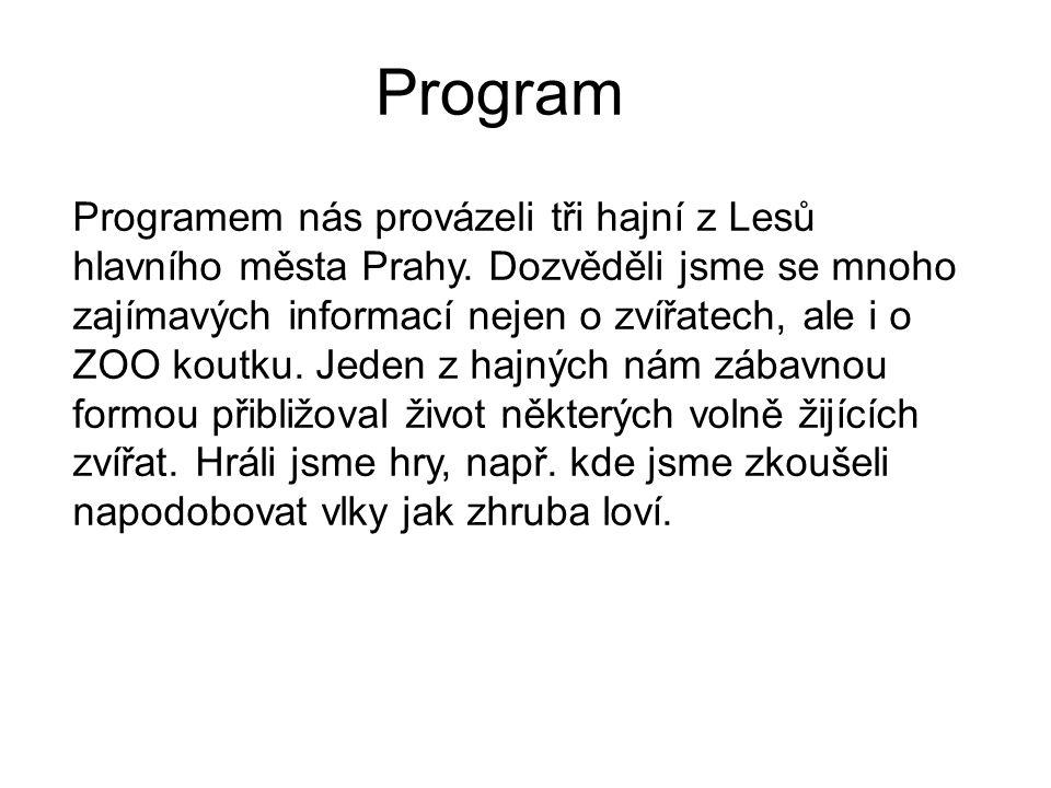 Program Programem nás provázeli tři hajní z Lesů hlavního města Prahy. Dozvěděli jsme se mnoho zajímavých informací nejen o zvířatech, ale i o ZOO kou