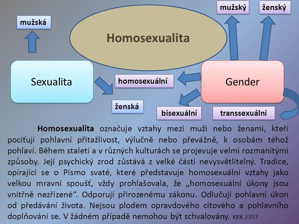Homosexualita Homosexualita označuje vztahy mezi muži nebo ženami, kteří pociťují pohlavní přitažlivost, výlučně nebo převážně, k osobám téhož pohlaví.