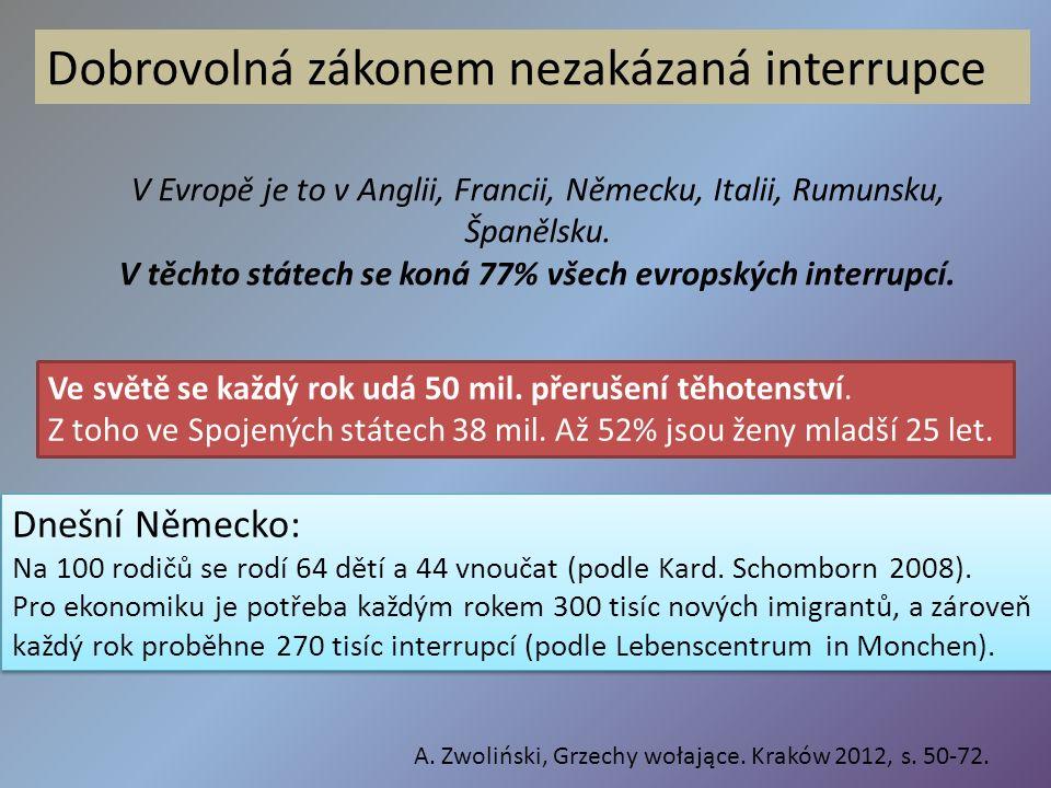 V Evropě je to v Anglii, Francii, Německu, Italii, Rumunsku, Španělsku. V těchto státech se koná 77% všech evropských interrupcí. Dobrovolná zákonem n