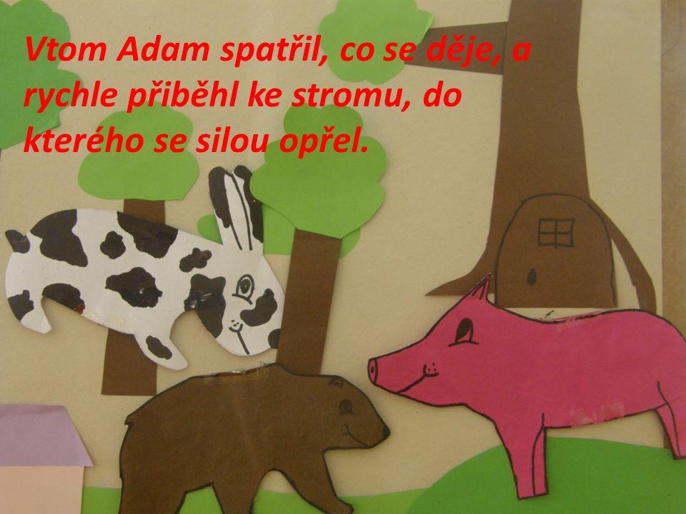 Vtom Adam spatřil, co se děje, a rychle přiběhl ke stromu, do kterého se silou opřel.