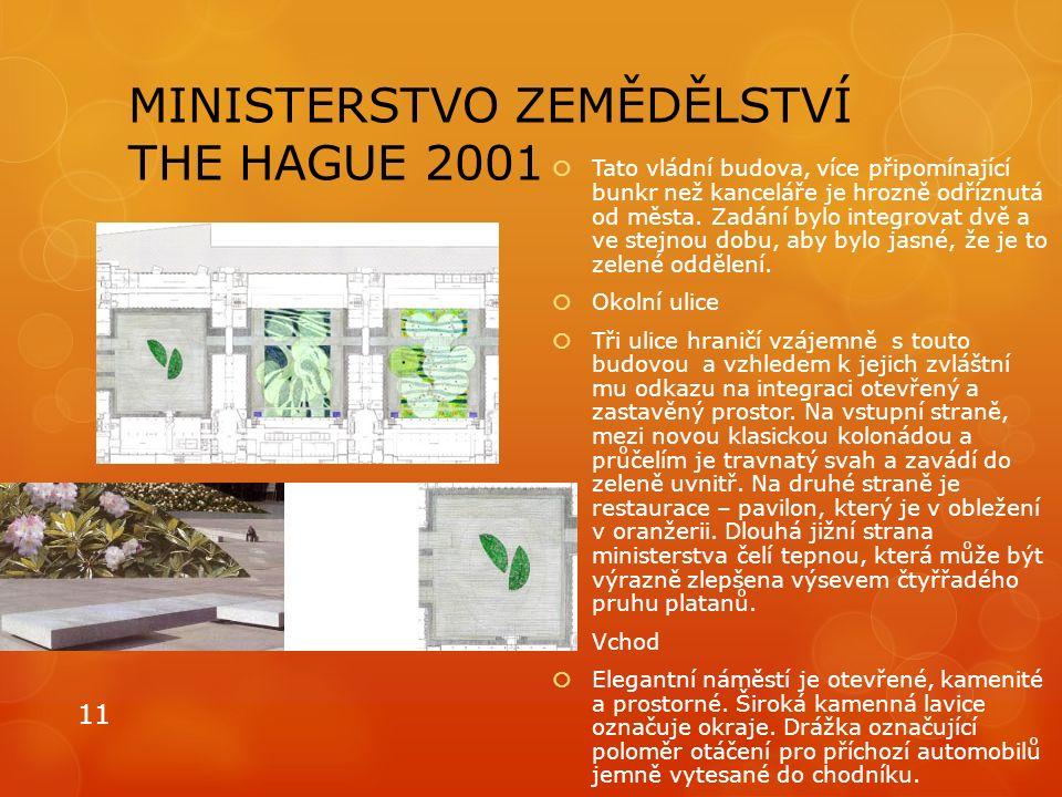 MINISTERSTVO ZEMĚDĚLSTVÍ THE HAGUE 2001  Tato vládní budova, více připomínající bunkr než kanceláře je hrozně odříznutá od města. Zadání bylo integro