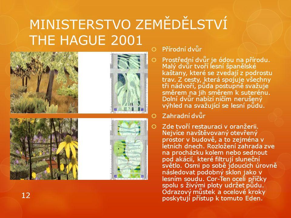 MINISTERSTVO ZEMĚDĚLSTVÍ THE HAGUE 2001  Přírodní dvůr  Prostřední dvůr je ódou na přírodu. Malý dvůr tvoří lesní španělské kaštany, které se zvedaj