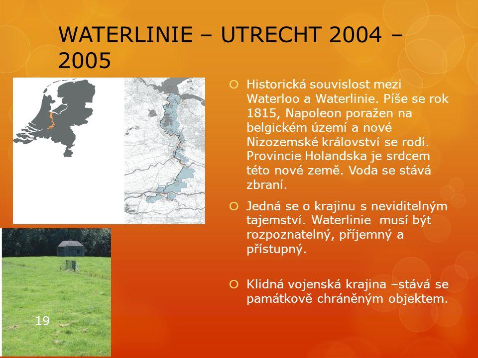 WATERLINIE – UTRECHT 2004 – 2005  Historická souvislost mezi Waterloo a Waterlinie. Píše se rok 1815, Napoleon poražen na belgickém území a nové Nizo