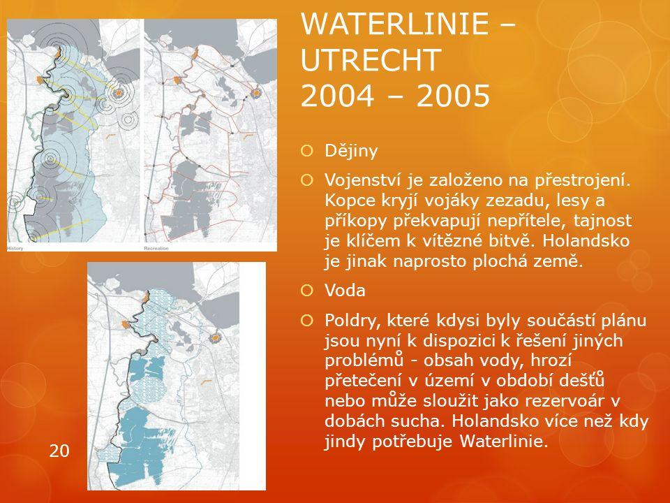 WATERLINIE – UTRECHT 2004 – 2005  Dějiny  Vojenství je založeno na přestrojení. Kopce kryjí vojáky zezadu, lesy a příkopy překvapují nepřítele, tajn