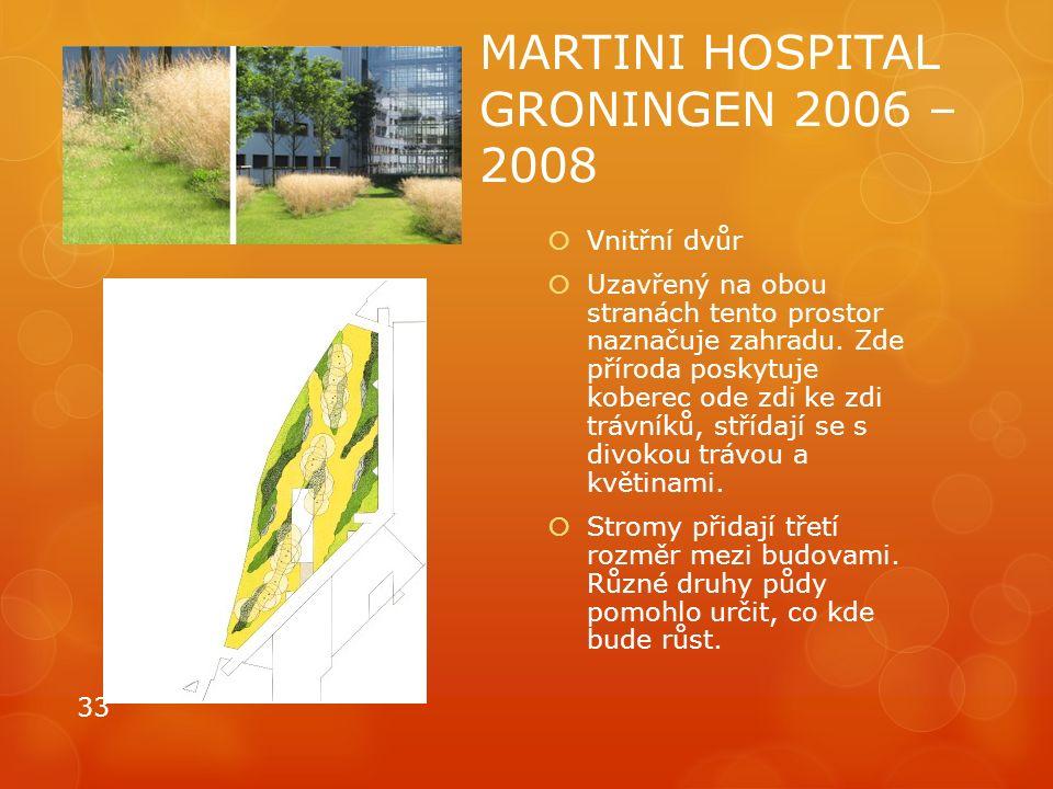 MARTINI HOSPITAL GRONINGEN 2006 – 2008  Vnitřní dvůr  Uzavřený na obou stranách tento prostor naznačuje zahradu. Zde příroda poskytuje koberec ode z