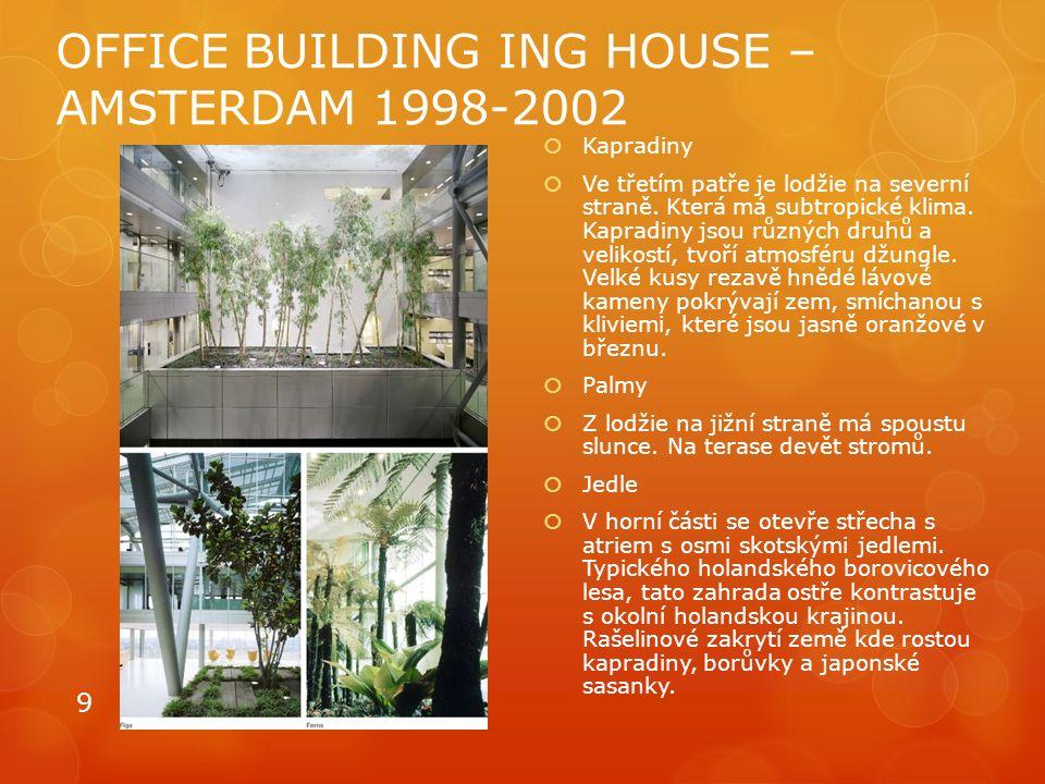 OFFICE BUILDING ING HOUSE – AMSTERDAM 1998-2002  Kapradiny  Ve třetím patře je lodžie na severní straně. Která má subtropické klima. Kapradiny jsou