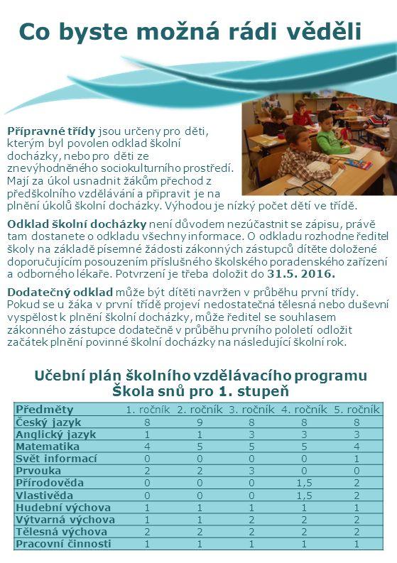Přípravné třídy jsou určeny pro děti, kterým byl povolen odklad školní docházky, nebo pro děti ze znevýhodněného sociokulturního prostředí.