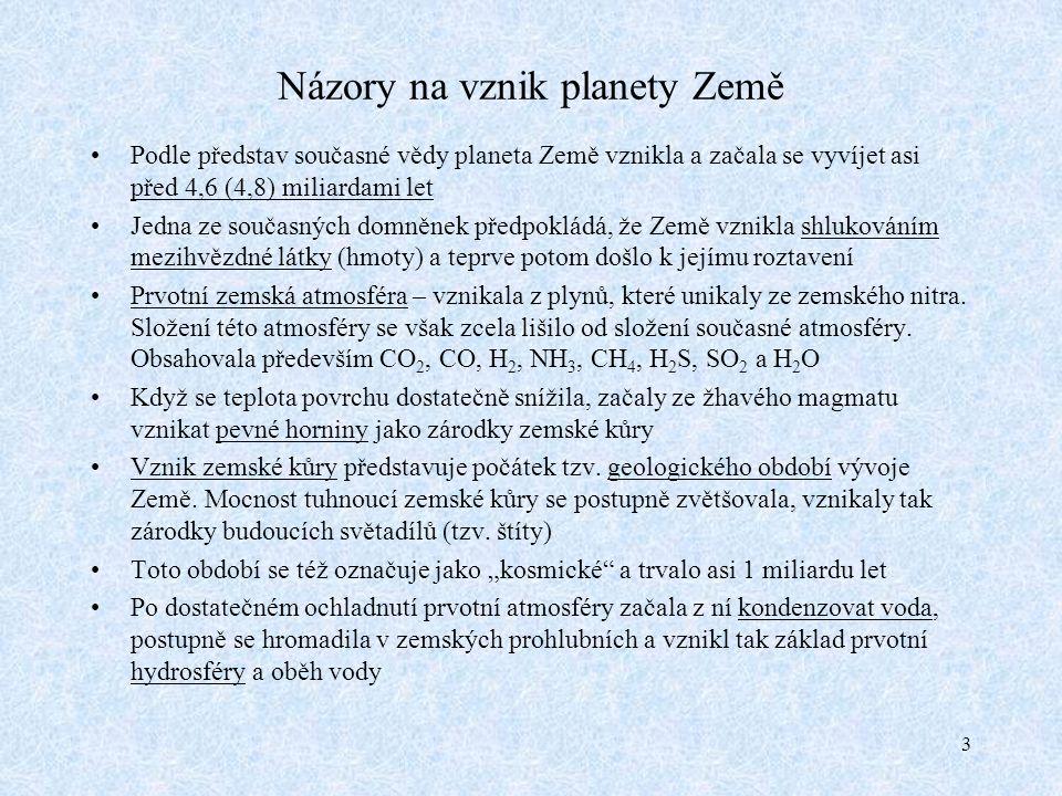 3 Názory na vznik planety Země Podle představ současné vědy planeta Země vznikla a začala se vyvíjet asi před 4,6 (4,8) miliardami let Jedna ze současných domněnek předpokládá, že Země vznikla shlukováním mezihvězdné látky (hmoty) a teprve potom došlo k jejímu roztavení Prvotní zemská atmosféra – vznikala z plynů, které unikaly ze zemského nitra.