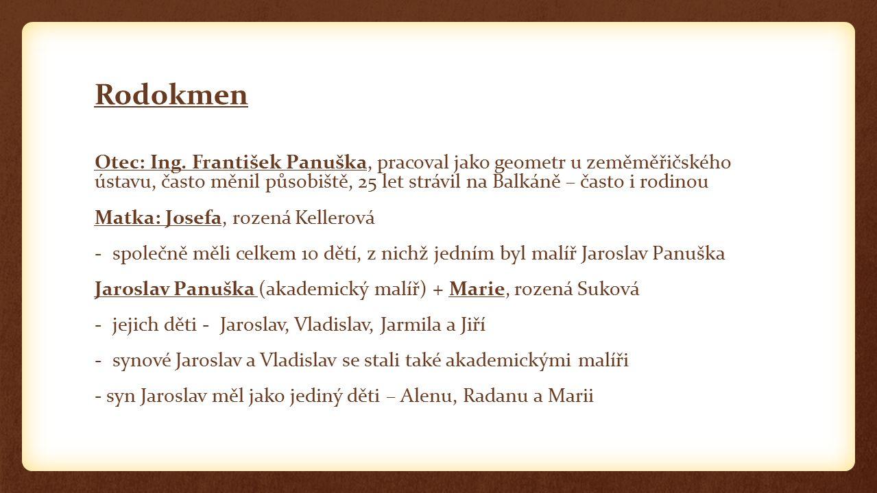 Rodokmen Otec: Ing. František Panuška, pracoval jako geometr u zeměměřičského ústavu, často měnil působiště, 25 let strávil na Balkáně – často i rodin