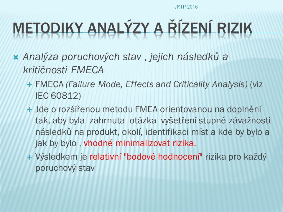  Analýza poruchových stav, jejich následků a kritičnosti FMECA  FMECA (Failure Mode, Effects and Criticality Analysis) (viz IEC 60812)  Jde o rozšířenou metodu FMEA orientovanou na doplnění tak, aby byla zahrnuta otázka vyšetření stupně závažnosti následků na produkt, okolí, identifikaci míst a kde by bylo a jak by bylo, vhodné minimalizovat rizika.