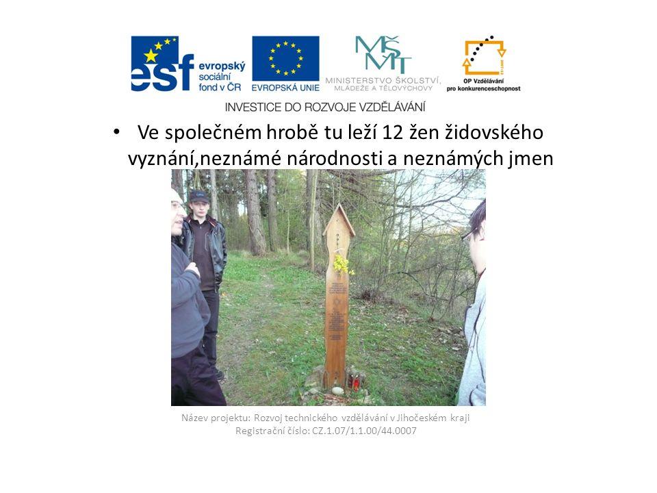 Název projektu: Rozvoj technického vzdělávání v Jihočeském kraji Registrační číslo: CZ.1.07/1.1.00/44.0007 Ve společném hrobě tu leží 12 žen židovskéh