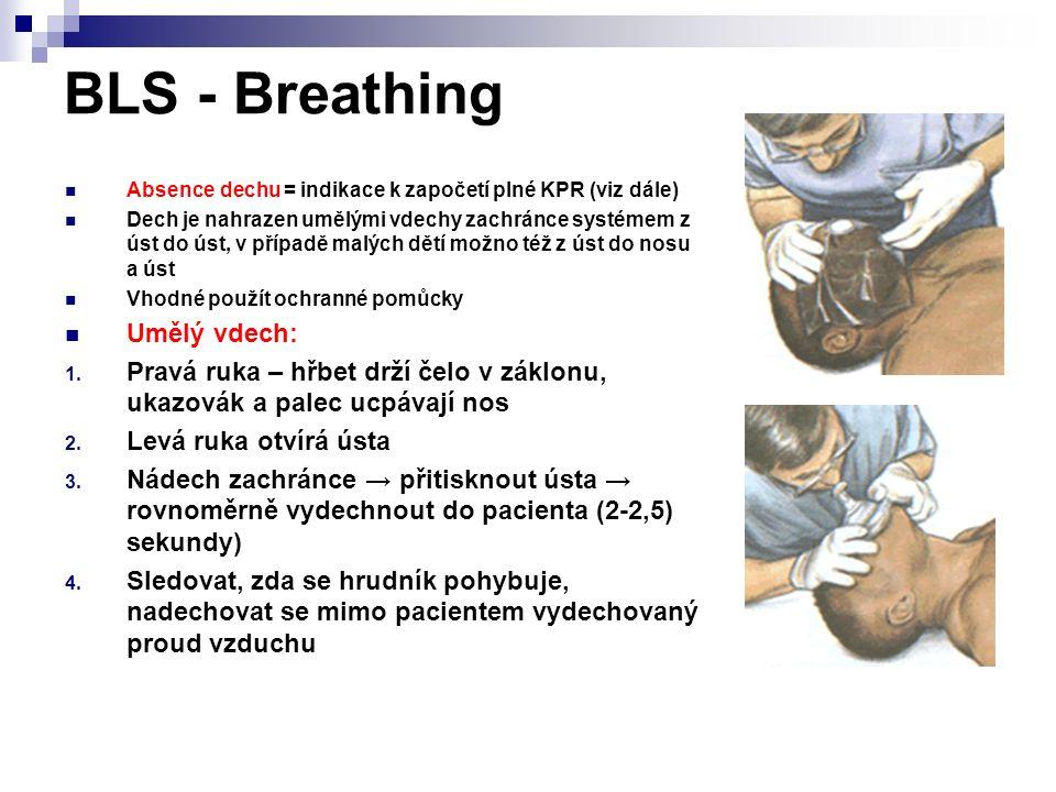 BLS - Breathing Absence dechu = indikace k započetí plné KPR (viz dále) Dech je nahrazen umělými vdechy zachránce systémem z úst do úst, v případě mal
