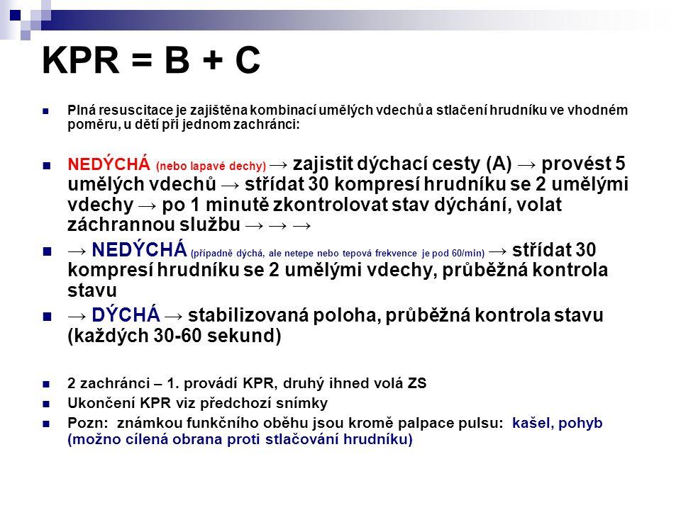 KPR = B + C Plná resuscitace je zajištěna kombinací umělých vdechů a stlačení hrudníku ve vhodném poměru, u dětí při jednom zachránci: NEDÝCHÁ (nebo l
