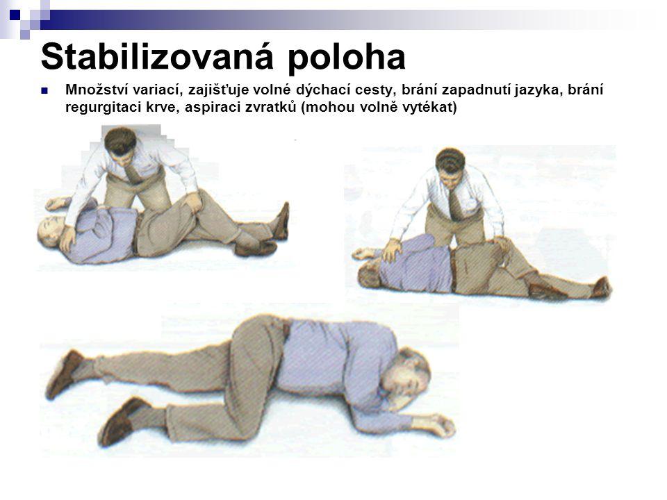 Stabilizovaná poloha Množství variací, zajišťuje volné dýchací cesty, brání zapadnutí jazyka, brání regurgitaci krve, aspiraci zvratků (mohou volně vy