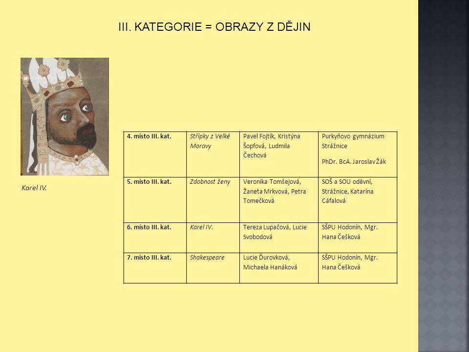 III. KATEGORIE = OBRAZY Z DĚJIN 4. místo III. kat.