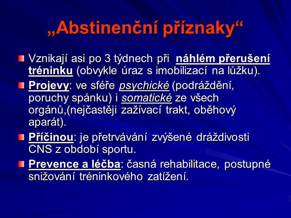 """""""Abstinenční příznaky Vznikají asi po 3 týdnech při náhlém přerušení tréninku (obvykle úraz s imobilizací na lůžku)."""