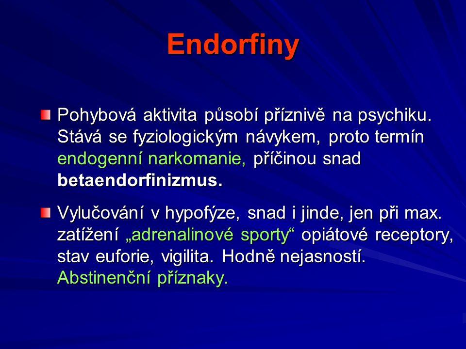 Endorfiny Pohybová aktivita působí příznivě na psychiku.