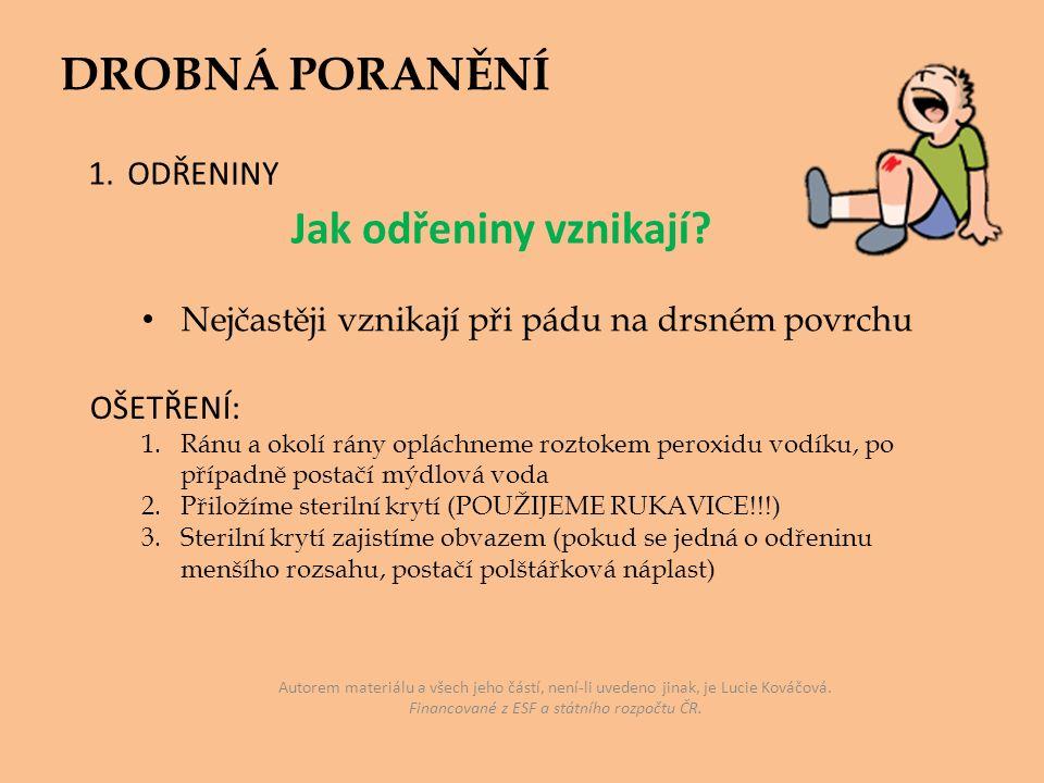 Autorem materiálu a všech jeho částí, není-li uvedeno jinak, je Lucie Kováčová. Financované z ESF a státního rozpočtu ČR. DROBNÁ PORANĚNÍ 1.ODŘENINY N