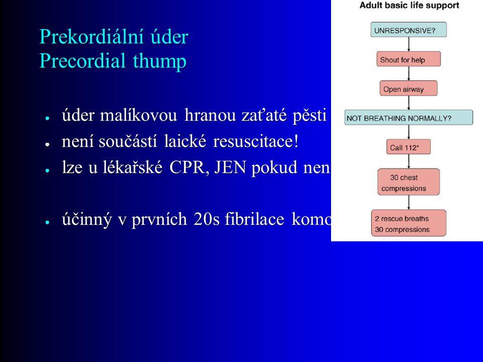 Prekordiální úder Precordial thump ● úder malíkovou hranou zaťaté pěsti do středu hrudníku ● není součástí laické resuscitace.