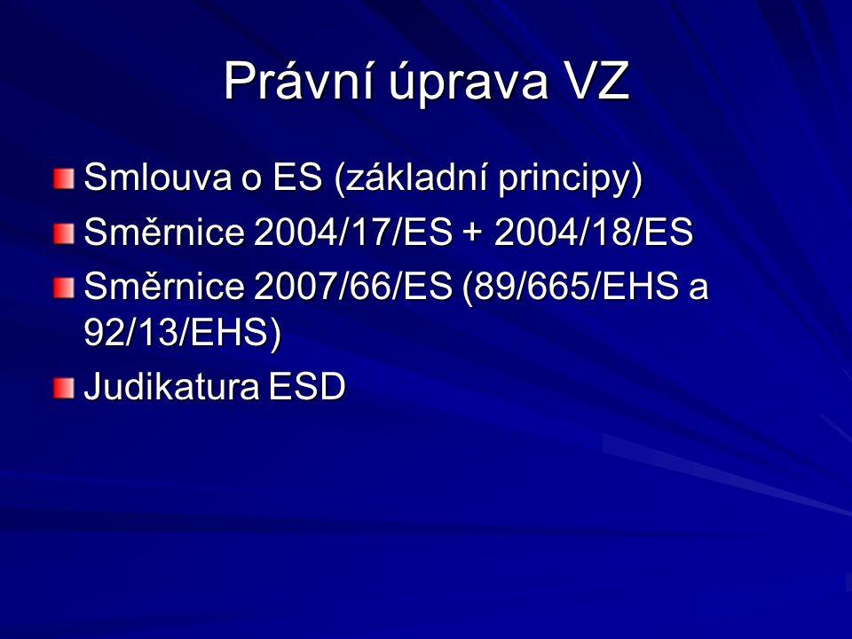 Právní úprava VZ Smlouva o ES (základní principy) Směrnice 2004/17/ES + 2004/18/ES Směrnice 2007/66/ES (89/665/EHS a 92/13/EHS) Judikatura ESD