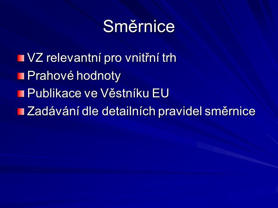 Směrnice VZ relevantní pro vnitřní trh Prahové hodnoty Publikace ve Věstníku EU Zadávání dle detailních pravidel směrnice