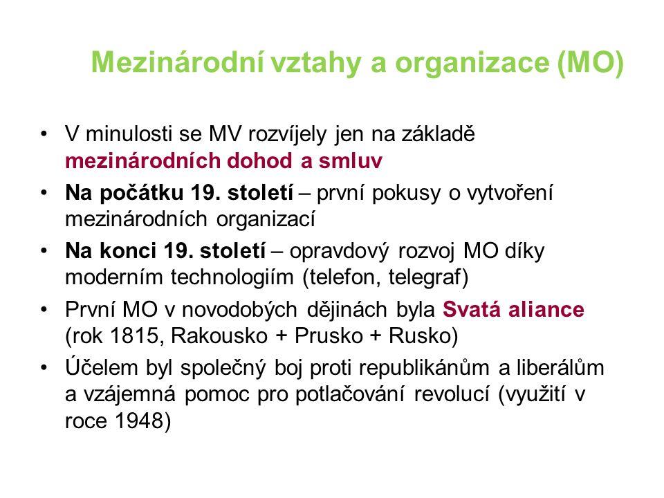 Mezinárodní vztahy a organizace (MO) V minulosti se MV rozvíjely jen na základě mezinárodních dohod a smluv Na počátku 19. století – první pokusy o vy