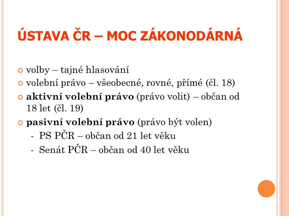 ÚSTAVA ČR – MOC ZÁKONODÁRNÁ volby – tajné hlasování volební právo – všeobecné, rovné, přímé (čl. 18) aktivní volební právo (právo volit) – občan od 18