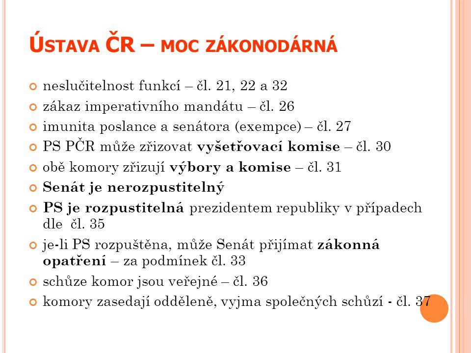 Ú STAVA ČR – MOC ZÁKONODÁRNÁ neslučitelnost funkcí – čl. 21, 22 a 32 zákaz imperativního mandátu – čl. 26 imunita poslance a senátora (exempce) – čl.