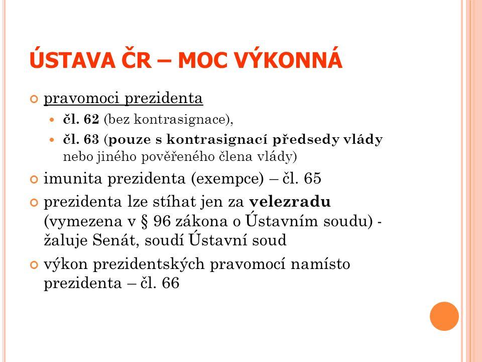 ÚSTAVA ČR – MOC VÝKONNÁ pravomoci prezidenta čl. 62 (bez kontrasignace), čl. 63 ( pouze s kontrasignací předsedy vlády nebo jiného pověřeného člena vl