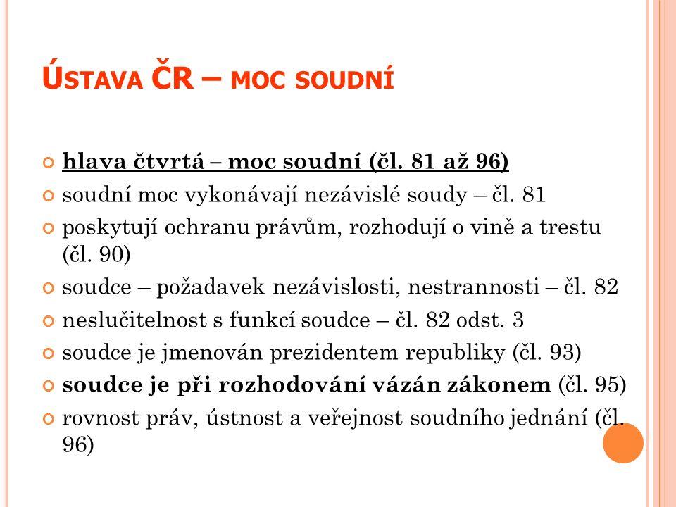 Ú STAVA ČR – MOC SOUDNÍ hlava čtvrtá – moc soudní (čl. 81 až 96) soudní moc vykonávají nezávislé soudy – čl. 81 poskytují ochranu právům, rozhodují o