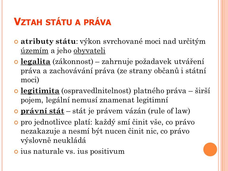 V ZTAH STÁTU A PRÁVA atributy státu : výkon svrchované moci nad určitým územím a jeho obyvateli legalita (zákonnost) – zahrnuje požadavek utváření prá