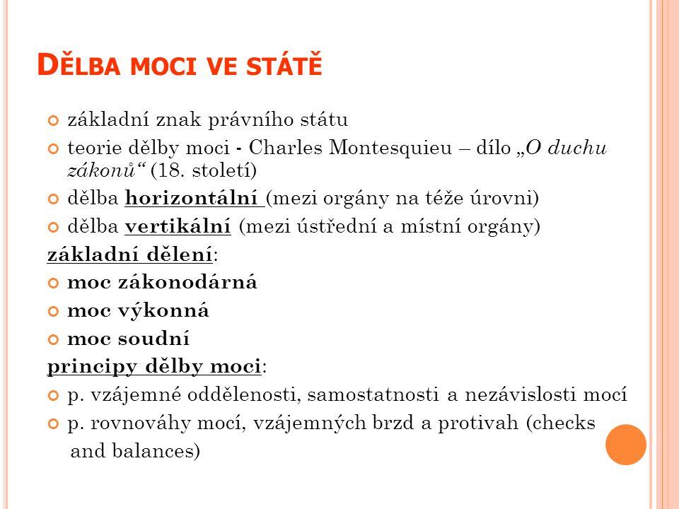 """D ĚLBA MOCI VE STÁTĚ základní znak právního státu teorie dělby moci - Charles Montesquieu – dílo """" O duchu zákonů"""" (18. století) dělba horizontální (m"""