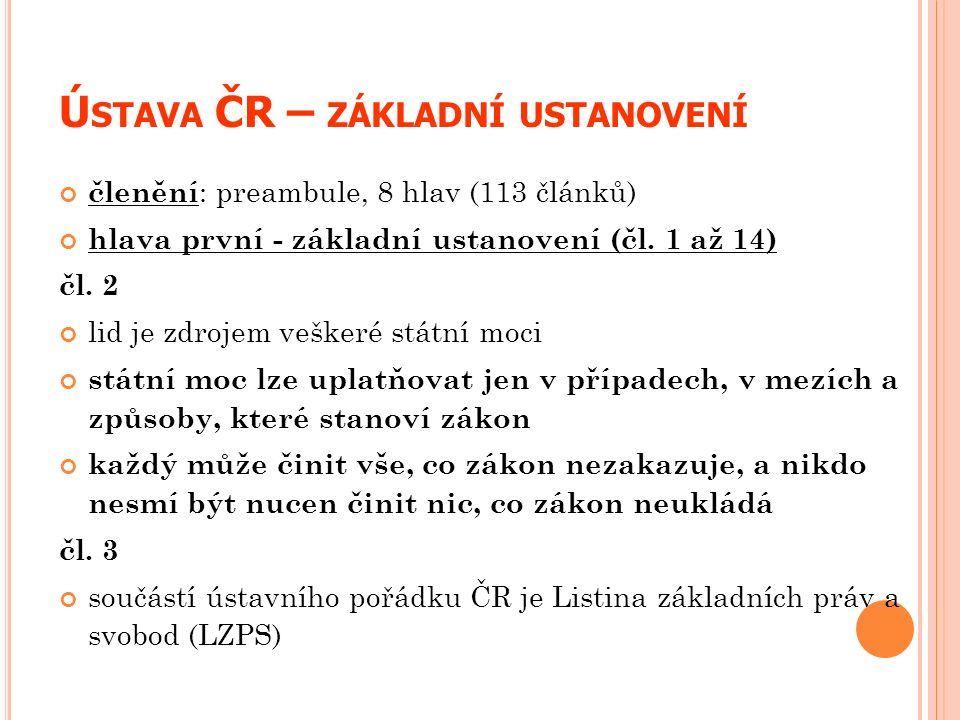 Ú STAVA ČR – ZÁKLADNÍ USTANOVENÍ členění : preambule, 8 hlav (113 článků) hlava první - základní ustanovení (čl. 1 až 14) čl. 2 lid je zdrojem veškeré