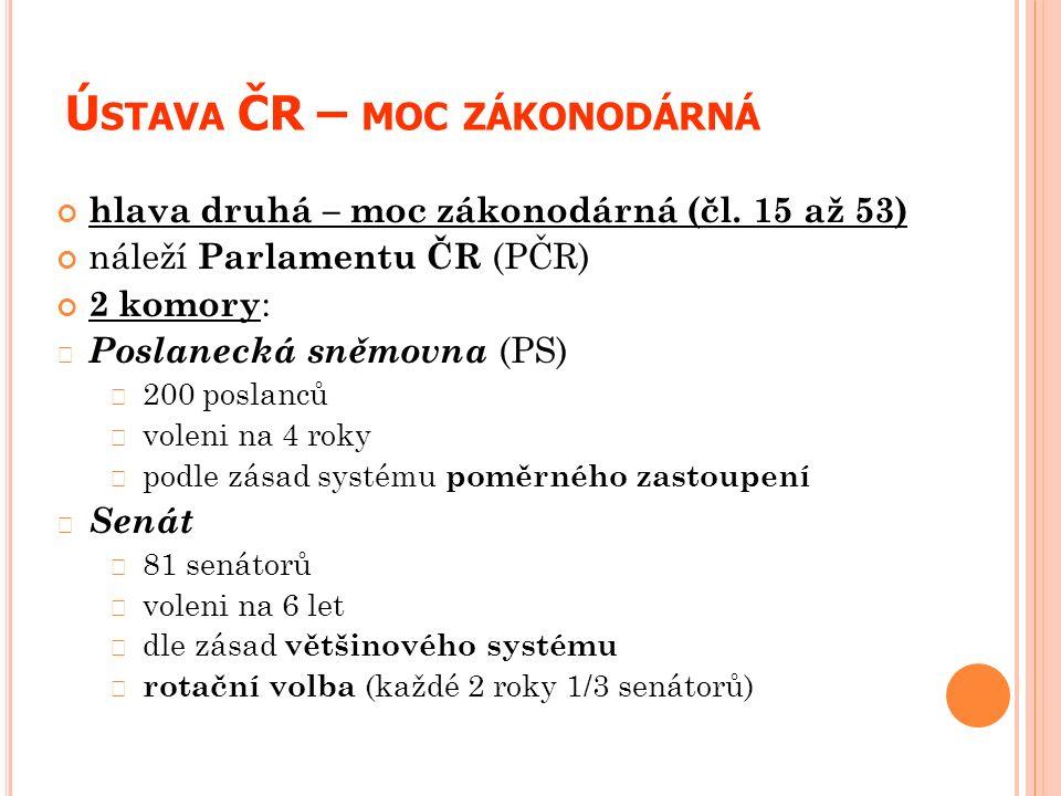 Ú STAVA ČR – MOC ZÁKONODÁRNÁ hlava druhá – moc zákonodárná (čl. 15 až 53) náleží Parlamentu ČR (PČR) 2 komory : Poslanecká sněmovna (PS) 200 poslanců