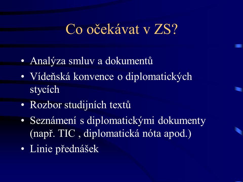Co očekávat v ZS? Analýza smluv a dokumentů Vídeňská konvence o diplomatických stycích Rozbor studijních textů Seznámení s diplomatickými dokumenty (n