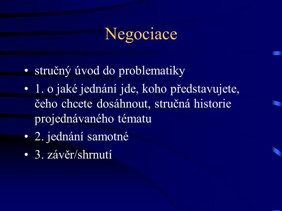 Negociace stručný úvod do problematiky 1. o jaké jednání jde, koho představujete, čeho chcete dosáhnout, stručná historie projednávaného tématu 2. jed