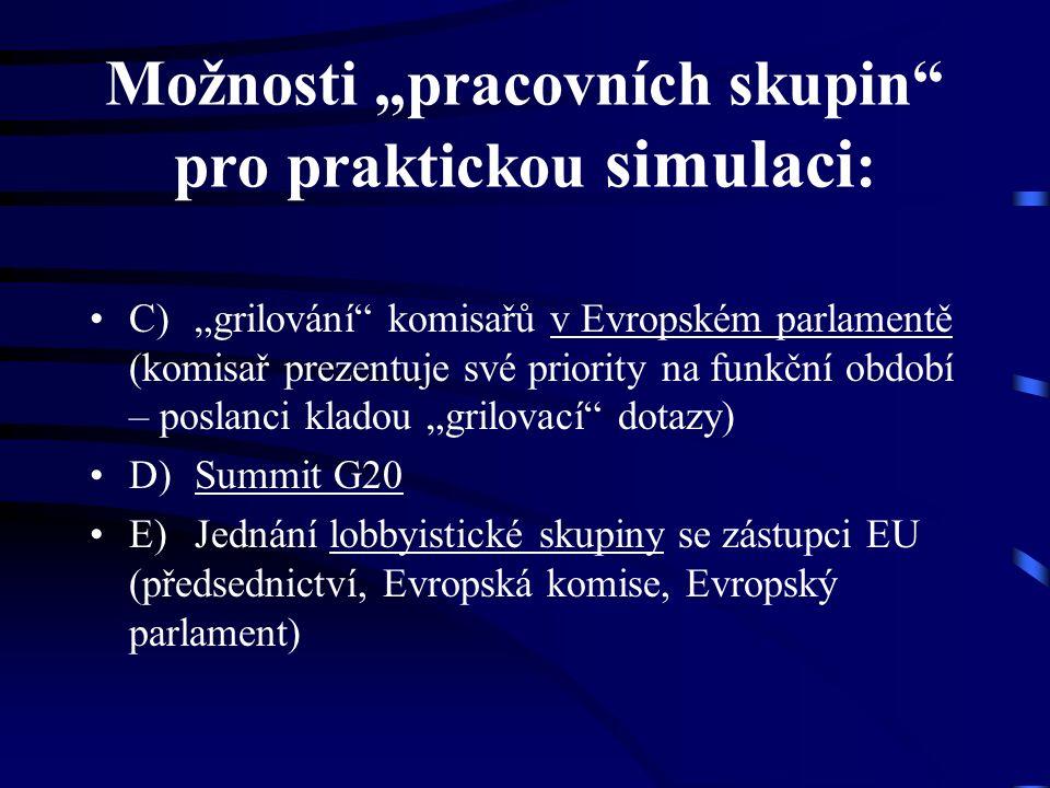 """Možnosti """"pracovních skupin"""" pro praktickou simulaci : C)""""grilování"""" komisařů v Evropském parlamentě (komisař prezentuje své priority na funkční obdob"""