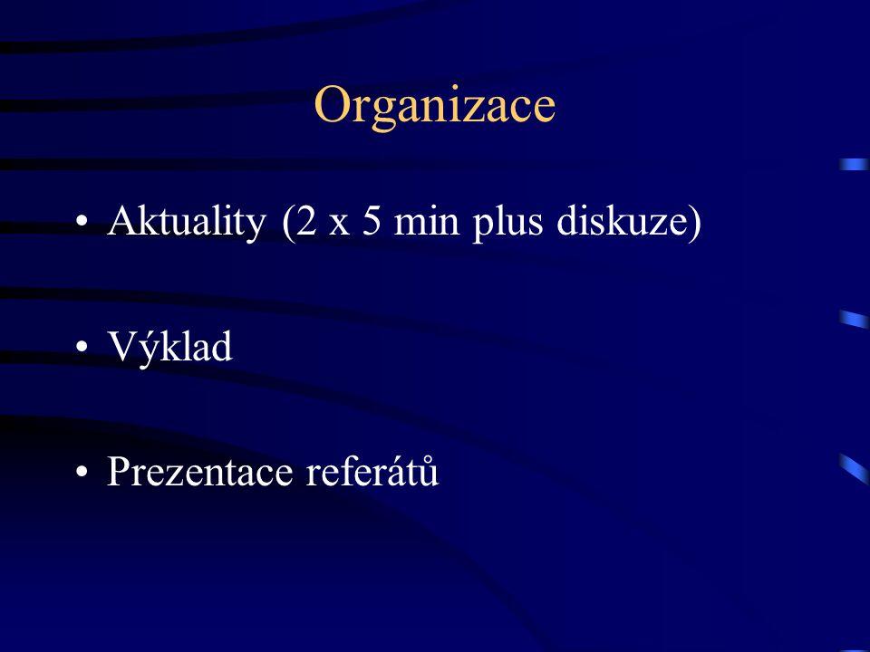 Organizace Aktuality (2 x 5 min plus diskuze) Výklad Prezentace referátů