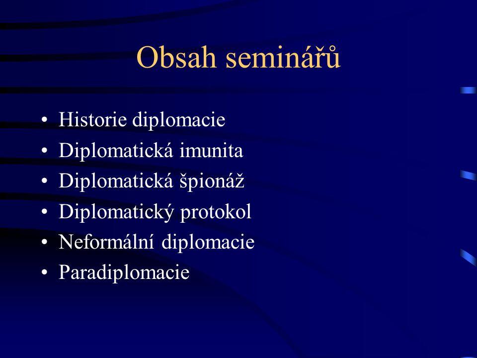 Obsah seminářů Historie diplomacie Diplomatická imunita Diplomatická špionáž Diplomatický protokol Neformální diplomacie Paradiplomacie