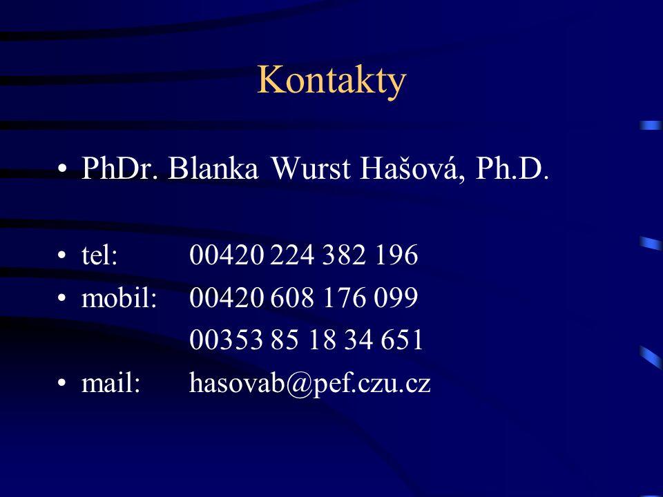 Kontakty PhDr. Blanka Wurst Hašová, Ph.D. tel: 00420 224 382 196 mobil: 00420 608 176 099 00353 85 18 34 651 mail: hasovab@pef.czu.cz