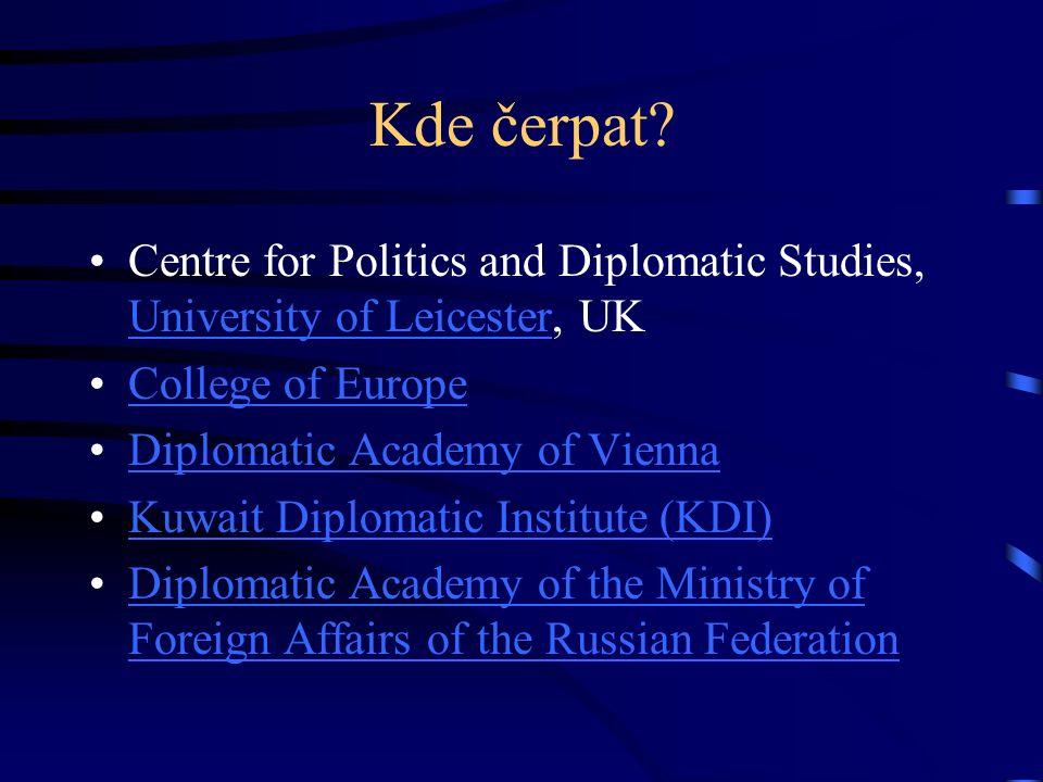 Kde čerpat? Centre for Politics and Diplomatic Studies, University of Leicester, UK University of Leicester College of Europe Diplomatic Academy of Vi