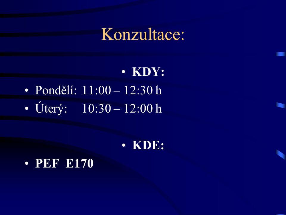 Konzultace: KDY: Pondělí:11:00 – 12:30 h Úterý:10:30 – 12:00 h KDE: PEF E170